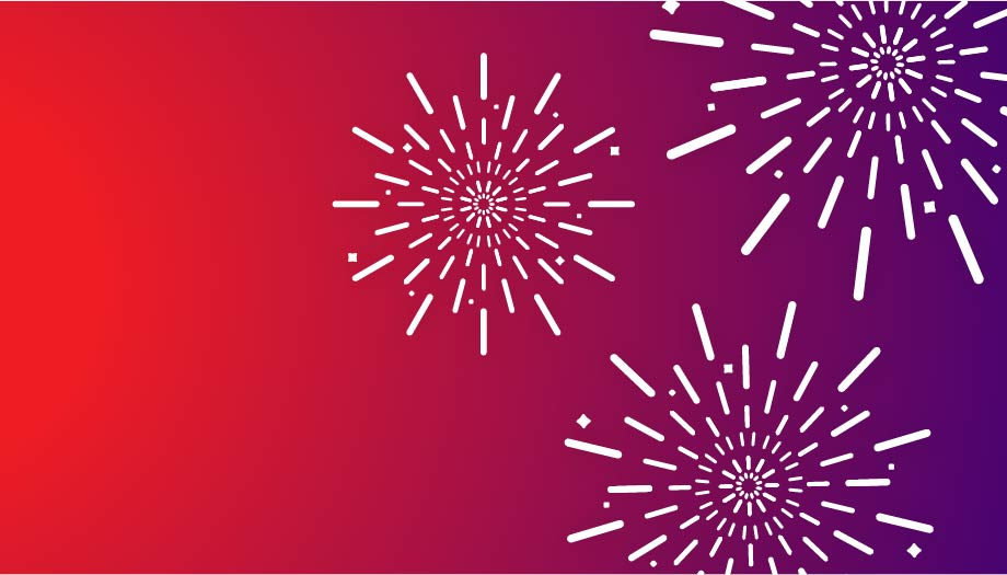 Pink and purple graphic of three fireworks